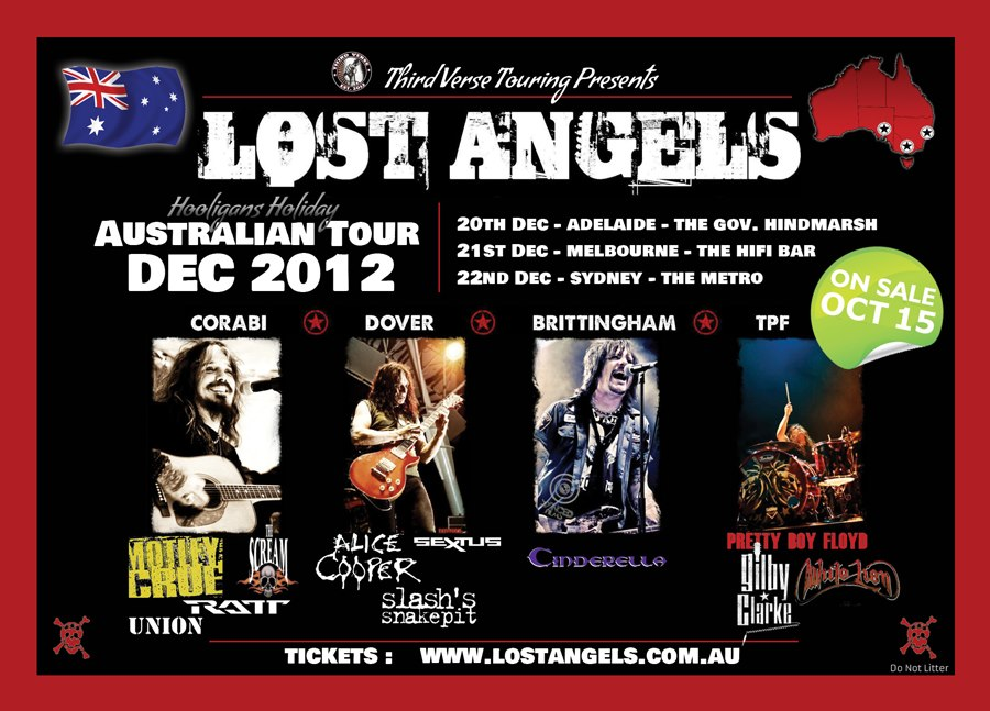 Lost Angels – Australian Tour, December 2012 featuring Corabi, Dover, Brittingham, TPF