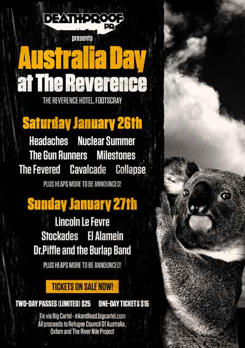 Australia Day weekend fundraiser at The Reverence Hotel in Melbourne!