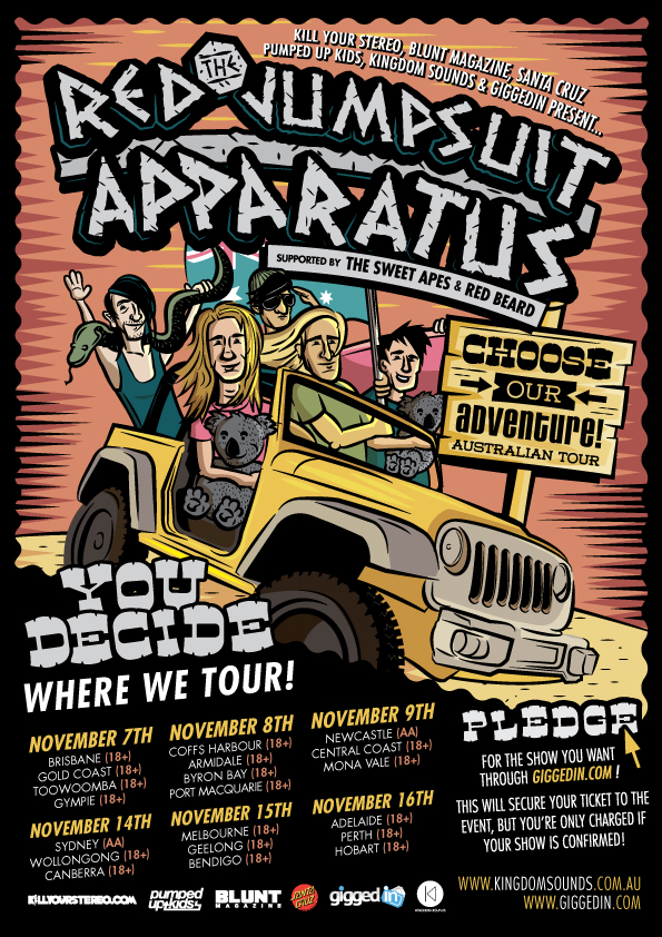 THE RED JUMPSUIT APPARATUS - choose our adventure Australian Tour ...