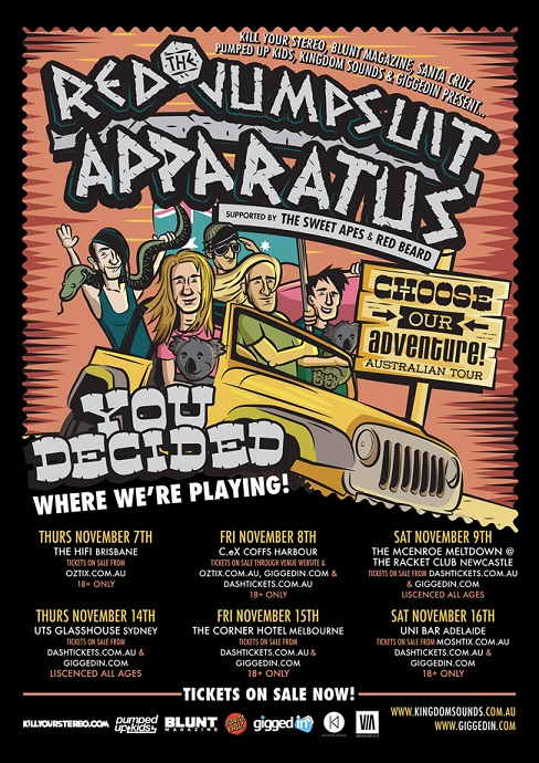 The fans have spoken - THE RED JUMPSUIT APPARATUS Australian tour ...