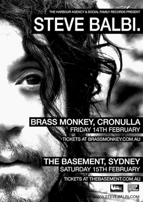 Steve Balbi announces headlining Shows at The Basement & Brass Monkey in Sydney