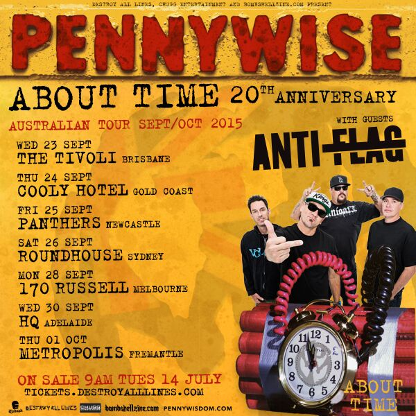 PENNYWISE Announce About Time 20th Anniversary Australian Tour – with guests Anti-Flag.