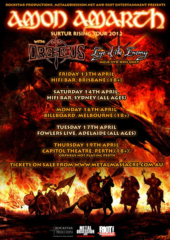 Amon Amarth Surtur Rising Australian Tour 2012