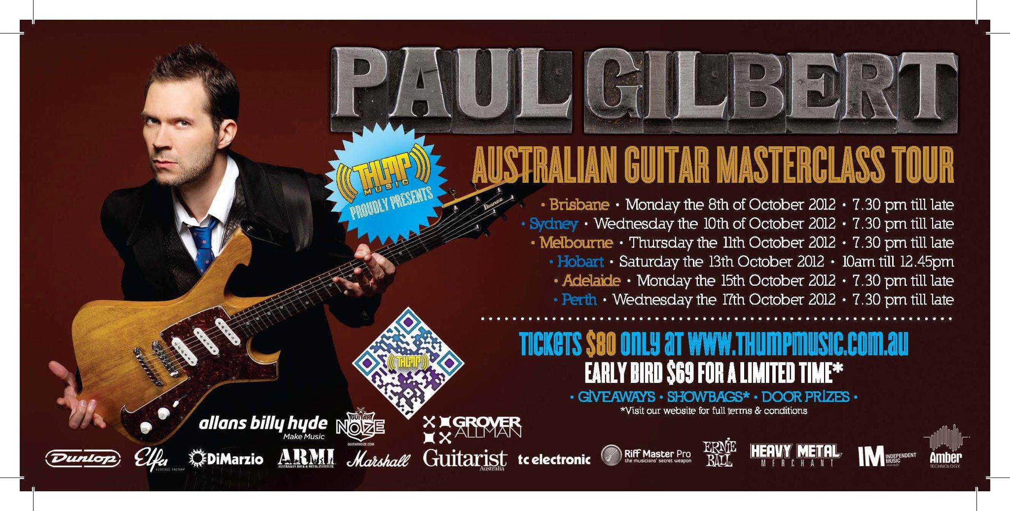 Paul Gilbert Masterclass tour – Australia