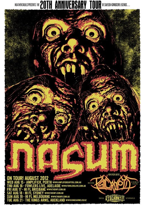 For the first time in Australia – NASUM – 20th Anniversary Tour