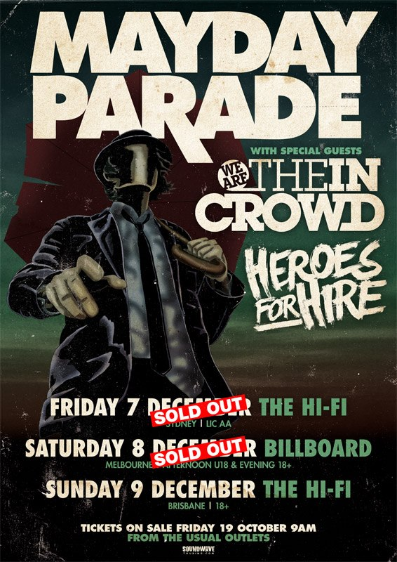 Mayday Parade, We Are The In Crowd, Heroes For Hire Australian tour dates…