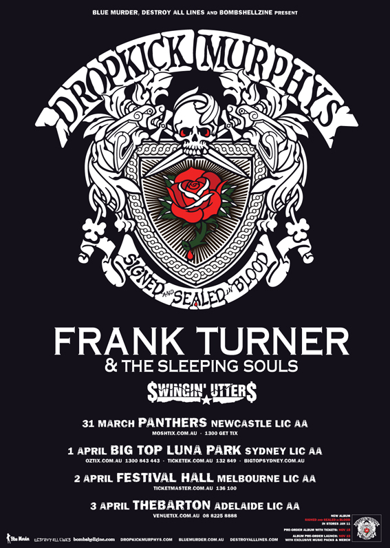 Dropkick Murphys, Frank Turner & Swingin' Utters – The Big Top, Sydney – April 1, 2013