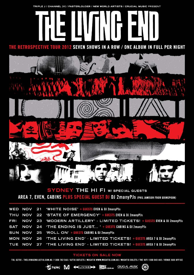 The Living End – Retrospective Tour – The Hi Fi Sydney – November 26 & 27 2012