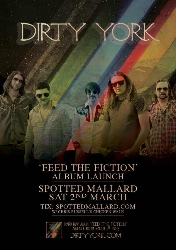 Melbourne rockers Dirty York announce album launch for 'Feed The Fiction'
