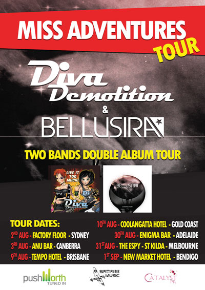 The Miss Adventures tour – Diva Demolition and Bellusira – The Factory, Sydney – August 2, 2013