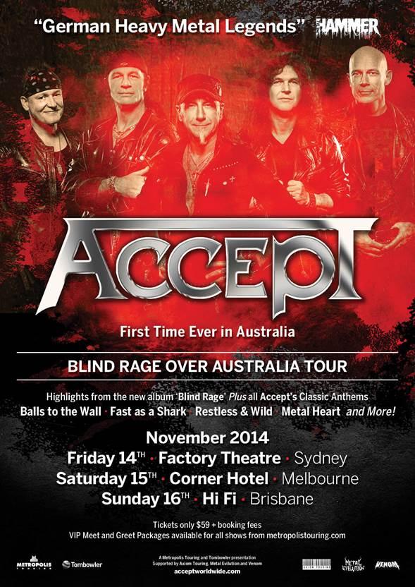 ACCEPT announce Australian Tour