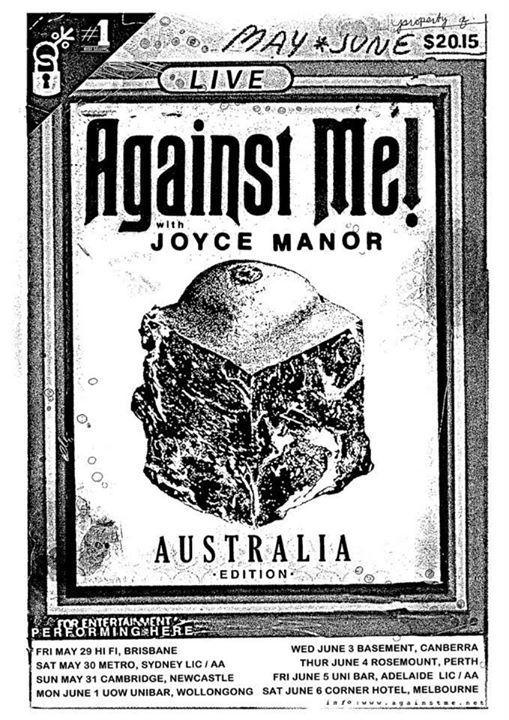 AGAINST ME! to tour Australia, announce May/June Show Dates with JOYCE MANOR